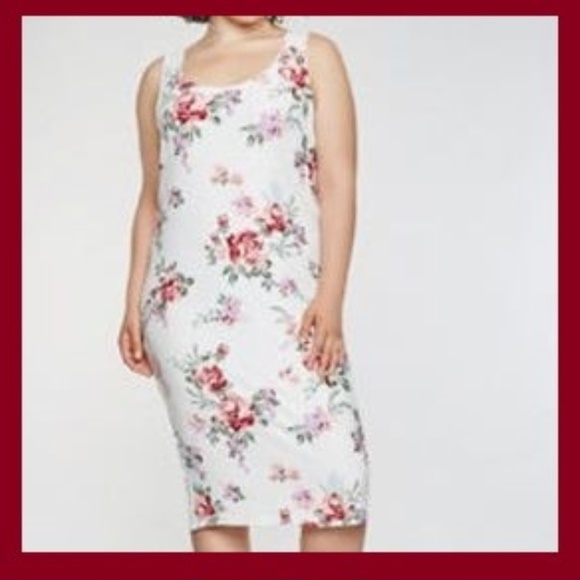 Plus Size Soft Knit Floral Midi Tank Dress (4x)